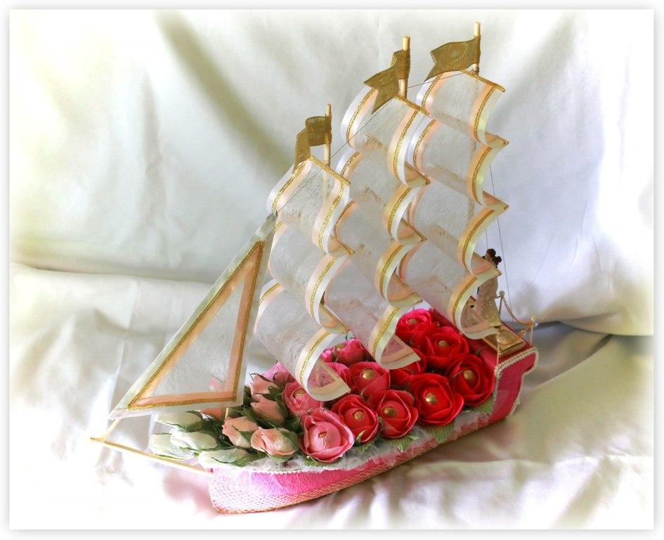 Корабль с конфетами на свадьбу